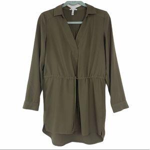 Leith Women's Army Green Tunic Top Drawstring S